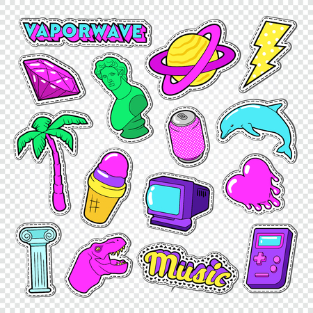 Vaporwave Teenager Style Doodle. Neon Stickers, Badges and Patches with Heart, Ice Cream and Palm Tree. Vector illustration