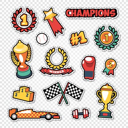 Juego de pegatinas ganador del trofeo deportivo con medallas, podio y premios Ilustración vectorial