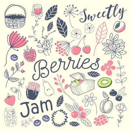 Organic Food Freehand Doodle. Fresh Fruits and Berries Hand Drawn Set. Vector illustration Ilustração