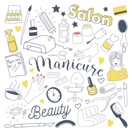 Manicure and Pedicure Freehand Doodle. Beauty Salon Hand Drawn Elements Set. Vector illustration