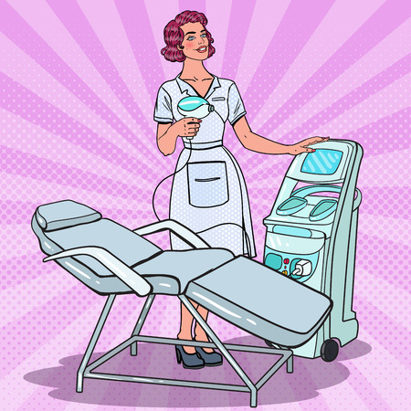 Professionele huidbehandeling Schoonheidskliniek. Pop-art vrouwelijke schoonheidsspecialist met laserverwijderingsmachine. Vector illustratie Stock Illustratie