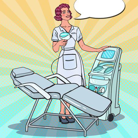 専門的な皮膚治療の美容クリニック。レーザー除去機とポップアートの美容師。ベクトル図  イラスト・ベクター素材
