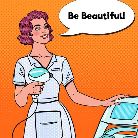 Gezichtsbehandeling, cosmetologie, schoonheid en spa. Pop-art schoonheidsspecialist met laserapparatuur. Vector illustratie