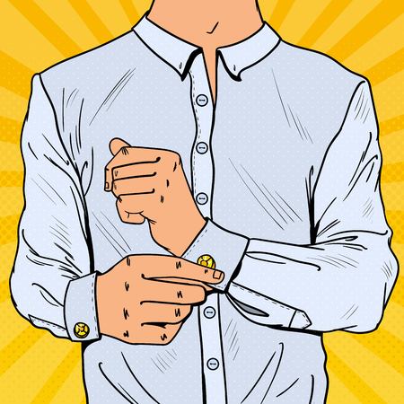 Pop Art Businessman Wearing Cufflinks. Man Fashion Style. Vector illustration