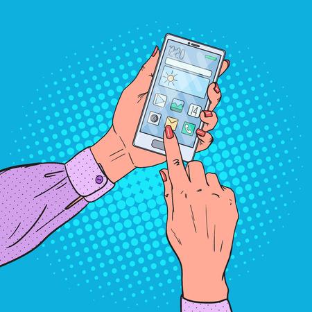 touch screen phone: Pop Art Woman Hands Using Smart phone. Mobile Technologies. Vector illustration Illustration