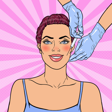 Pop Art Young Woman is Getting Beauty Facial Injection. Cosmetology Clinic. Vector illustration