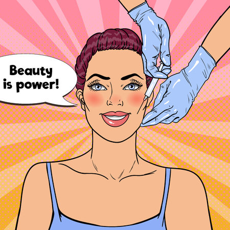 Pop Art Young Woman is Getting Beauty Facial Injection. Plastic Surgery Cosmetology Clinic. Vector illustration
