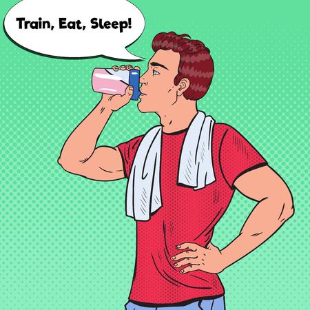Pop Art Bodybuilder Man Drinking Protein Shake. Nutrition Supplements. Vector illustration Illustration