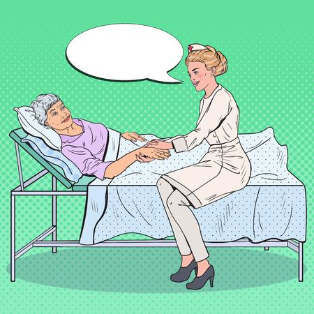Pop Art Nurse Holding Hand of Senior Woman. Health Care, Medicine, Hospital. Vector illustration
