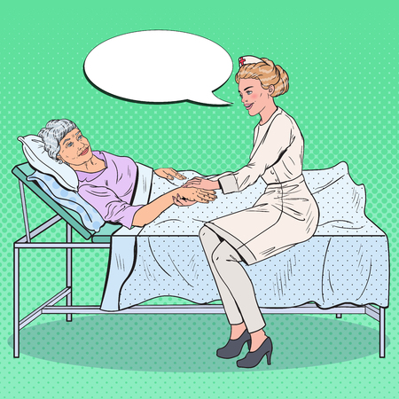Pop Art Nurse Holding Hand of Senior Woman. Health Care, Medicine, Hospital. Vector illustration