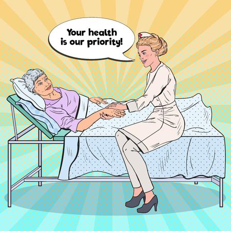 Pop Art Nurse Holding Hand of Older Woman. Health Care, Medicine, Hospital. Vector illustration