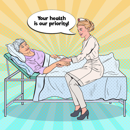 Pop Art Nurse Holding Hand of Older Woman. Health Care, Medicine, Hospital. Vector illustration