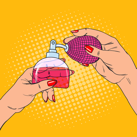 Pop Art Woman Hands with Bottle of Luxury Perfume. Vector illustration