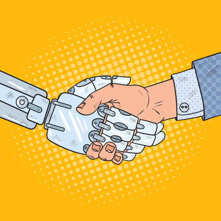 Pop Art Business Robot and Human Handshake. Intelligence Technology. Vector illustration Ilustração