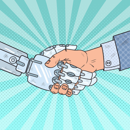 Pop Art Business Robot and Human Handshake. Intelligence Technology. Vector illustration 向量圖像