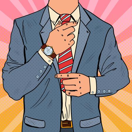 ネクタイを調整する芸術実業家をポップします。男性のビジネス ファッション スタイル。ベクトル図