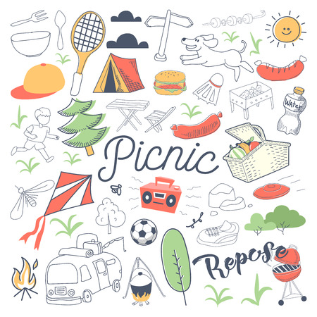 Picnic and BBQ Hand Drawn Doodle. Camping Outdoor Vacation Freehand Set. Ilustrace