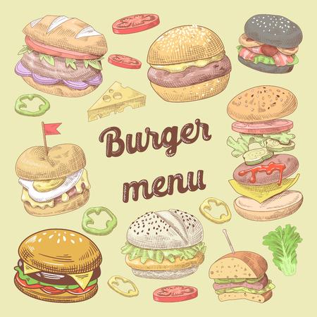 패스트 푸드 레스토랑 햄버거와 손으로 그린 메뉴 디자인. 브로셔 템플릿 디자인.