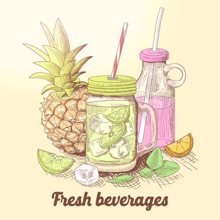 Hand Drawn Fresh Summer Drinks with Lemonade and Fruits. Organic Beverages. Vector illustration Illustration