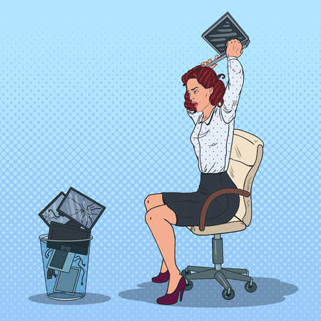 Pop Art Stressed Business Woman Throwing Laptop to the Trash Bin. Angry Office Worker.