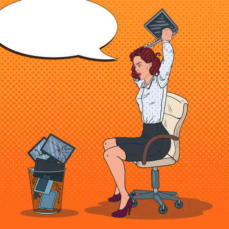 Pop Art Angry Business Woman Throwing Laptop to the Trash Bin. Stress at Work. Vector illustration