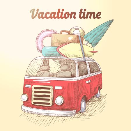 빈티지 밴 서핑 비치 휴가입니다. 자동차로 여름 여행. 벡터 일러스트 레이 션