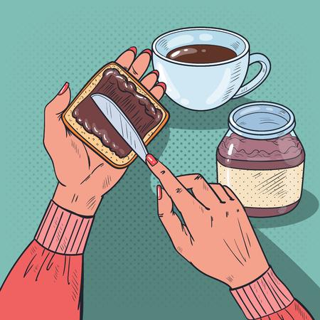 Pop Art Frau Hände Ausbreitung Schokolade Sahne auf Brot Scheibe. Vektor-Illustration Standard-Bild - 84214430