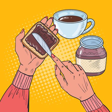 Pop Art Woman Hands Spreads Chocolate Cream On Bread Slice. Vector illustratie Stock Illustratie