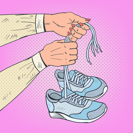 Pop Art Woman Hands Holding Running Shoes. Sneakers Footwear. Vector illustration