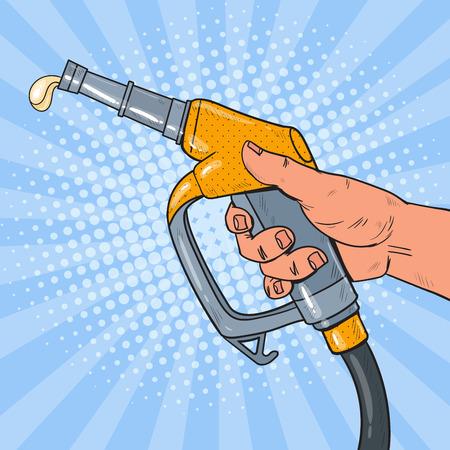 Pop Art Man Hand Holding Refueling Gun. Gas Station. Vector illustration