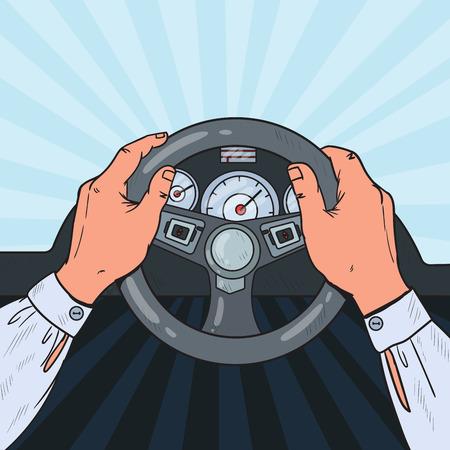 Pop Art Man Hands Steering Car Wheel. Safe Driving. Vector illustration Illustration