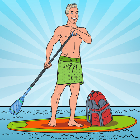 Pop Art Young Man Paddling on Stand Up Paddle Board. SUP Watersport on the Sea. Vector illustration Ilustração