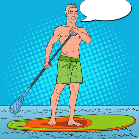 Pop Art Man Paddling on Stand Up Paddle Board. SUP Watersport on the Sea. Vector illustration