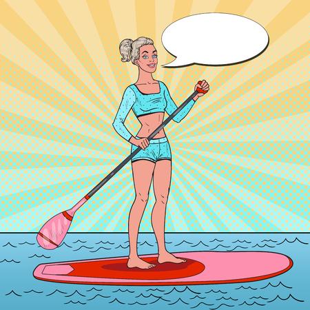 Pop Art Beautiful Woman op de Stand Up Paddle Board. Meisje in zwembroek op SUP. Stock Illustratie