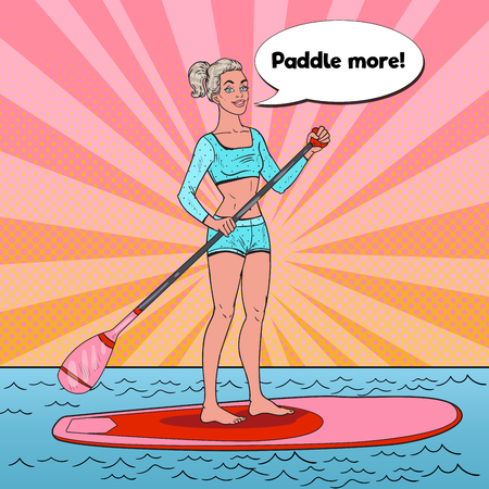 Pop Art Beautiful Woman on the Stand Up Paddle Board. Female Surfer in Swimsuit on SUP. Illustration