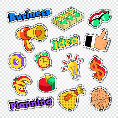 Business Idea Stickers Set. Badges and Patches with Finance Elements. Vector illustration
