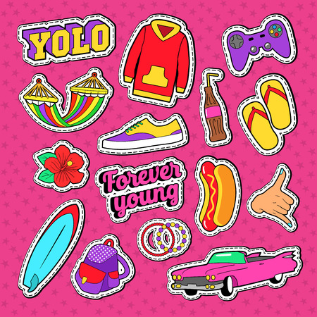 Teenage Fashion Stickers, Badges and Patches with Pink Car, Hands and Accessories. Vector illustration