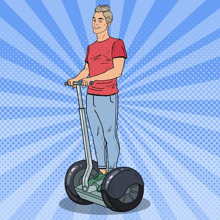 Pop Art Young Man Riding Segway. Urban Transport. Vector illustration