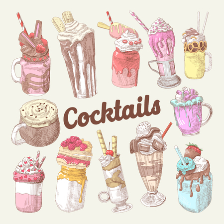 Milkshakes and Ice Cream Hand Drawn Doodle. Dessert Drinks. Vector illustration