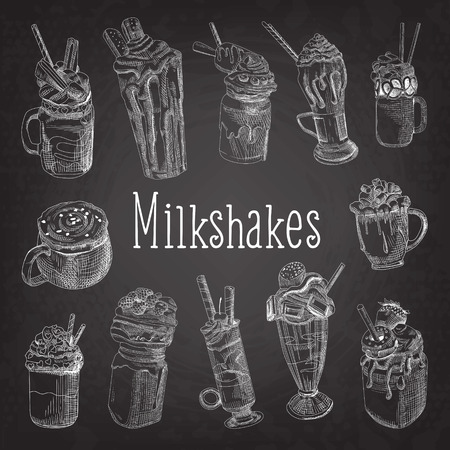 Milkshake and Ice Cream Hand Drawn Doodle. Dessert Drinks on Chalkboard. Vector illustration