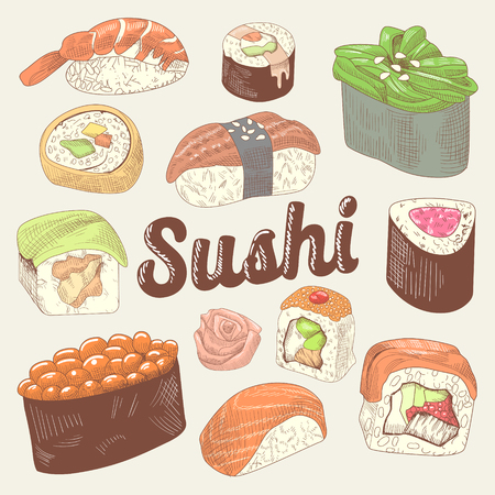 Japanese Food Hand Drawn Doodle. Sushi and Rolls with Rice and Fresh Fish. Vector Sketch