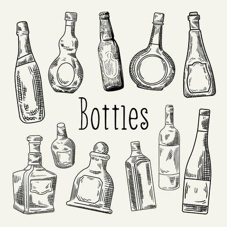 Hand Drawn Bottles Doodle. Wine, Cognac Bottle Sketch. Vector illustration