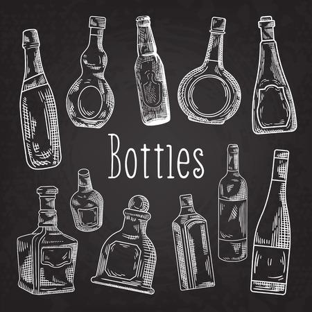 Hand Drawn Bottles Doodle. Wine, Cognac Bottle Blackboard Sketch. Vector illustration