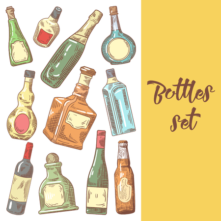 Hand Drawn Bottles Menu Design. Wine, Cognac Bottle Sketch. Vector illustration