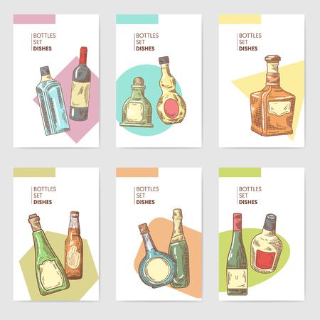Hand Drawn Bottles Alcoholic Menu Design. Wine, Cognac Bottle Sketch. Vector illustration