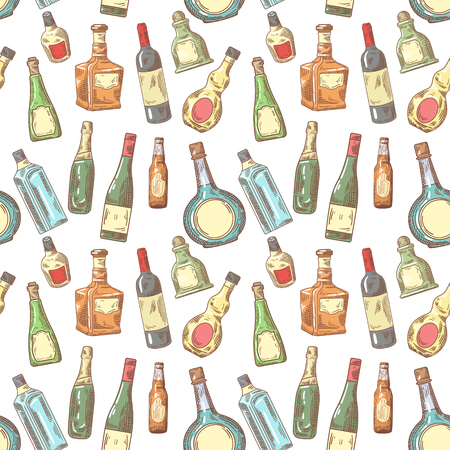 Hand Drawn Bottles Seamless Pattern. Wine, Cognac Bottle Background. Vector illustration