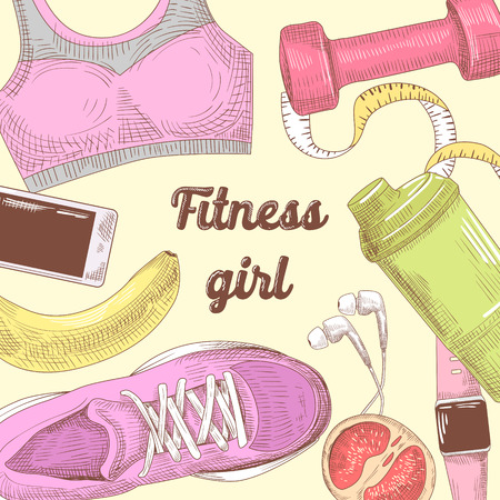 Female Healthy Lifestyle Hand Drawn Doodle. Fitness Elements Set. Gym, Diet and Sport. Vector illustration Illustration