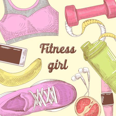 Vrouwelijke gezonde levensstijl Hand getrokken Doodle. Fitness elementen instellen. Gym, dieet en sport. Vector illustratie Stock Illustratie