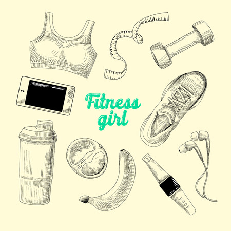 sports equipment: Woman Healthy Lifestyle Hand Drawn Doodle. Fitness Elements Set. Gym, Diet and Sport. Vector illustration