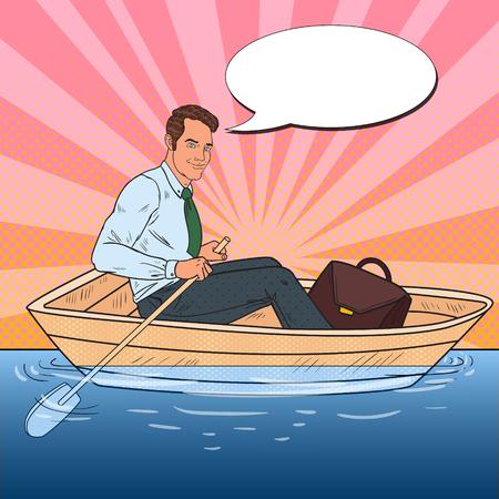 Pop Art Businessman Floating in the Boat. Summer Vacation. Vector illustration
